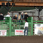 The riders get a pep talk from Kaehl Berg with the Red Eye Rodeo before the 2016 Darby MT EPB.  Josh Homer photo.  Photo credit must be given on all uses.