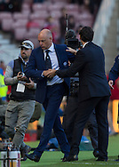 Middlesbrough FC Manager Aitor Karanka  and Leeds United FC Manager Uwe Rosler  at the end of the Sky Bet Championship match between Middlesbrough and Leeds United at the Riverside Stadium, Middlesbrough, England on 27 September 2015. Photo by George Ledger.