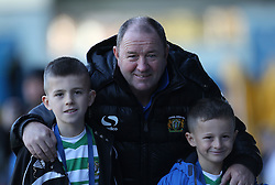Yeovil Town Manager, Gary Johnson with two mascots-Photo mandatory by-line: Matt Bunn/JMP - Tel: Mobile: 07966 386802 02/11/2013 - SPORT - FOOTBALL - Elland Road - Leeds - Leeds United v Yeovil Town - Sky Bet Championship