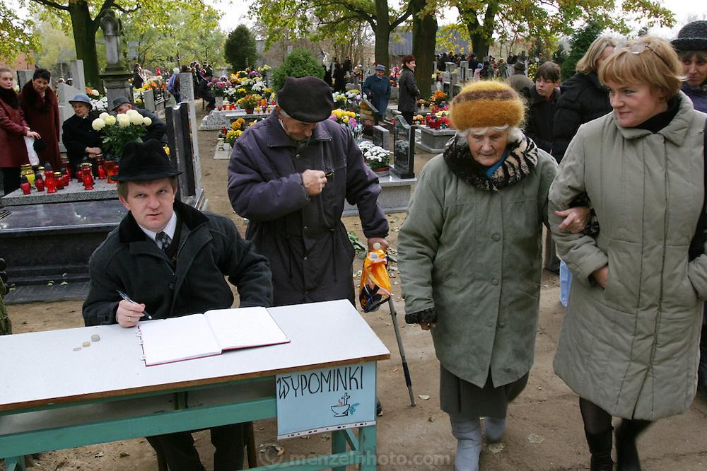 Lodz, Poland cemetery on All Saints Day.