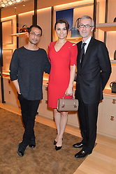 Left to right, RAMESH NAIR Directeur Artistique Moynat , SAMANTHA BARKS and GUILLAUME DAVIN Directeur General Moynat at the opening party for Moynat's new Maison de Vente in Mayfair at 112 Mount Street, London W1 on 12th March 2014.