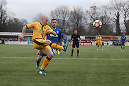 Sutton United Nicky Bailey (16) clears the danger during The FA Cup match between Sutton United and AFC Wimbledon at Gander Green Lane, Sutton, United Kingdom on 7 January 2017. Photo by Stuart Butcher.