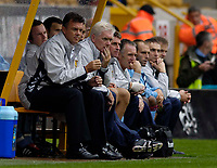 Fotball<br /> England 2005/2006<br /> Foto: SBI/Digitalsport<br /> NORWAY ONLY<br /> <br /> Wolverhampton Wanderers v Aston Villa<br /> Pre Season Friendly.<br /> 30/07/2005.<br /> <br /> A worried Aston Villa bench and manager David O'Leary look on as they struggle against Championship neighbours Wolverhampton.