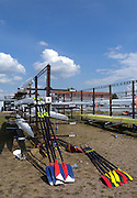 Racice, CZECH REPUBLIC. GV's, General Views,  Boat Area, Boat Storage and Blade/Oar racks, at the venue for the 2010. FISA Junior World Rowing Championships. Wednesday,  04/08/2010.  [Mandatory Credit Peter Spurrier/ Intersport Images], Equipment,