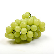 Fresh and organic green Grapes on white background