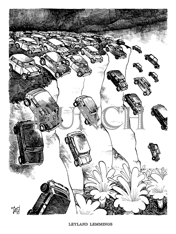 Leyland Lemmings (cartoon showing Mini cars driving off the cliffs of Dover).
