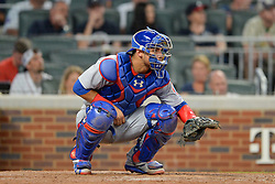 May 15, 2018 - Atlanta, GA, U.S. - ATLANTA, GA Ð MAY 15:  Cubs catcher Willson Contreras (40) waits to receive a pitch during the game between Atlanta and Chicago on May 15th, 2018 at SunTrust Park in Atlanta, GA. The Chicago Cubs defeated the Atlanta Braves by a score of 3 -2.  (Photo by Rich von Biberstein/Icon Sportswire) (Credit Image: © Rich Von Biberstein/Icon SMI via ZUMA Press)