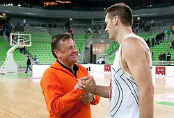 Zoran Jankovic and Goran Jagodnik of Olimpija after basketball match between KK Union Olimpija and Igokea in First round of NLB league in Arena Stozice on October 9, 2010 in SRC Stozice, Ljubljana, Slovenia. Union Olimpija defeated Igokea 61-54. (Photo by Vid Ponikvar / Sportida)