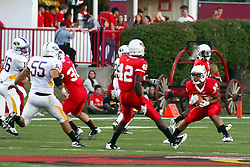 10 September 2011: Lechein Neblett looks for a path up the grid during an NCAA football game between the Morehead State Eagles and the Illinois State Redbirds at Hancock Stadium in Normal Illinois.