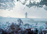 © Licensed to London News Pictures. 06/11/2014. Richmond, UK. A cyclist rides through the park.  People and animals during a frosty start to the day on 6th November 2014. Temperature fell across the country overnight. Photo credit : Stephen Simpson/LNP