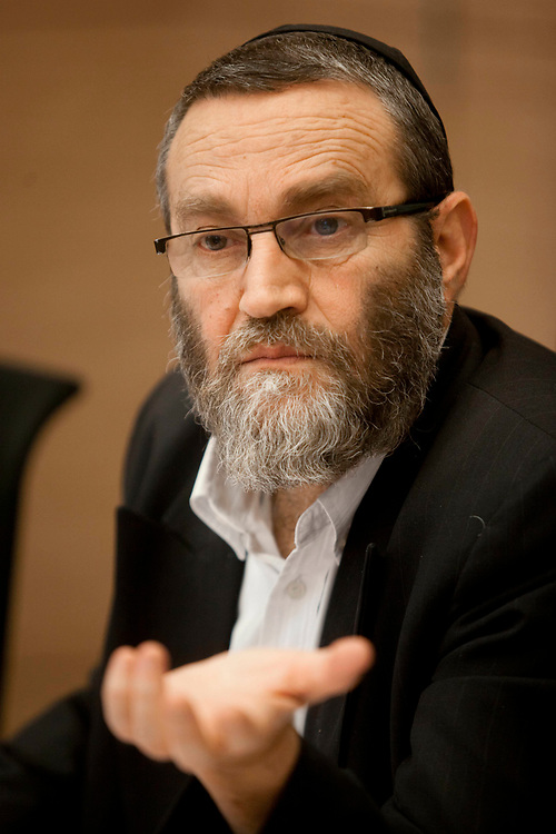 Israeli lawmaker, Knesset Member Moshe Gafni attends a session of the Finance Committee at the Knesset, Israel's parliament in Jerusalem, on April 18, 2012.
