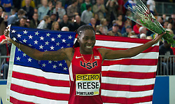 Brittney Reese of the United States celebrates after winning the gold medal in the Women's Long Jump Final during day two of the IAAF World Indoor Championships at Oregon Convention Center in Portland, Oregon, the United States, on March 18, 2016. EXPA Pictures © 2016, PhotoCredit: EXPA/ Photoshot/ Yang Lei from Chongqing<br /> <br /> *****ATTENTION - for AUT, SLO, CRO, SRB, BIH, MAZ, SUI only*****