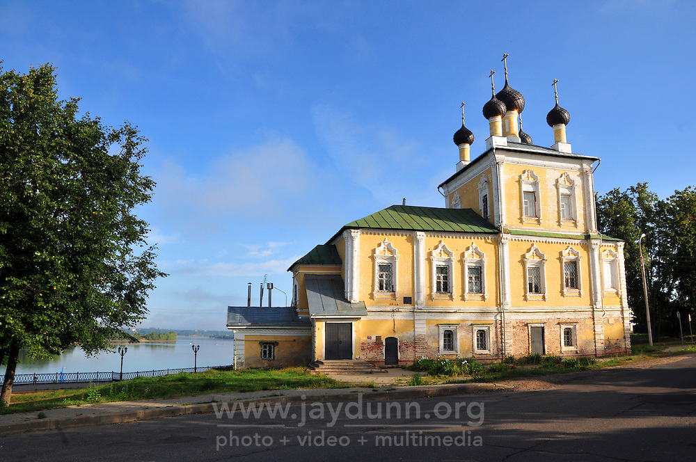 """Early morning light on the Voskreseniia church along the Volga River in Uglich, Russia. As one of Russia's """"Golden Ring"""" cities, Uglich is designated a town of significant cultural importance."""