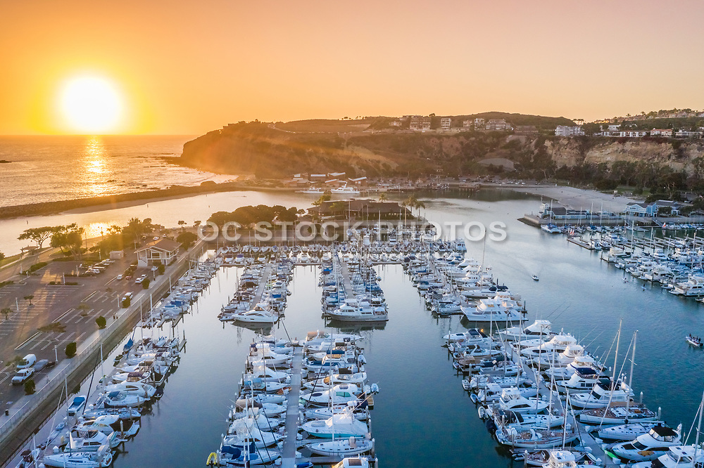 Sunset Aerial View Over the Dana Point Harbor