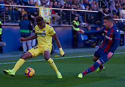 November 4, 2018 - Villarreal, U.S. - VILLARREAL, SPAIN - NOVEMBER 04: Chukwueze, forward of Villarreal CF competes for the ball with Elis Bardhi, midfielder of Levante UD during the La Liga match between Villarreal CF and Levante UD on November 04, 2018, at Estadio de la Ceramica in Villarreal, Spain. (Photo by Carlos Sanchez Martinez/Icon Sportswire) (Credit Image: © Carlos Sanchez Martinez/Icon SMI via ZUMA Press)