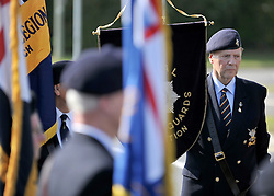 © licensed to London News Pictures. CARTERTON, UK.  01/09/11. The Royal British Legion attended the event. A ceremony, attended by British Prime Minister David Cameron,  takes place at The Memorial Garden at Norton Way in Carterton, Oxfordshire today (01 Sept 2011). The Garden will become the focal point during the repatriation of UK service personnel from RAF Brize Norton. The Union Flag that used to fly at repatriations in Wooton Bassett was handed over and was blessed. . Mandatory Credit Stephen Simpson/LNP