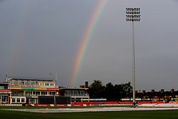 A rainbow appears over the grounds as the Vitality T20 Blast match is abandoned due to rain at the Fischer County Ground, Leicester.