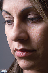 Portrait of a woman looking sad,