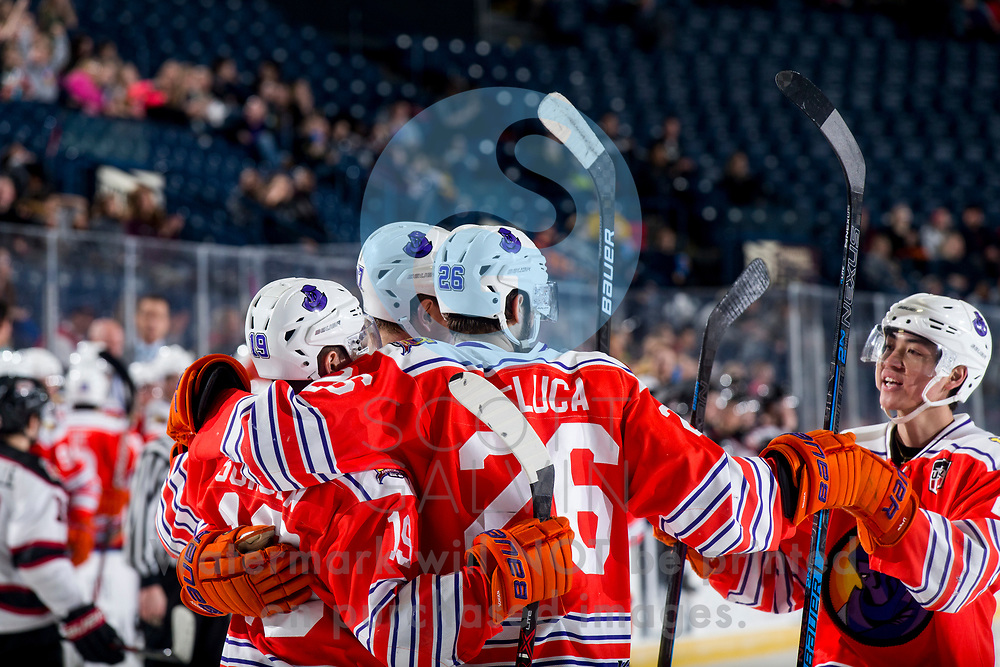The Youngstown Phantoms lose 5-4 in overtime to the Chicago Steel at the Covelli Centre on February 26, 2020.<br /> <br /> Ben Schoen, forward, 19; Josh DeLuca, forward, 26; John Larkin, defenseman, 27