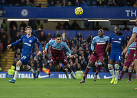 Football - 2019 / 2020 Premier League - Chelsea vs. West Ham United<br /> <br /> Fabian Balbuena (West Ham United) with a diving header as he clears another Chelsea cross at Stamford Bridge <br /> <br /> COLORSPORT/DANIEL BEARHAM