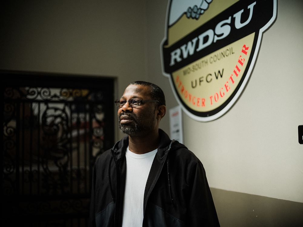 BIRMINGHAM, AL – MARCH 10, 2021: Darryl Richardson, 51, stands at the RWDSU Union Hall in Birmingham's Southside, where he and other Amazon employees are organizing for the Retail Wholesale and Department Store Union. If pro-union organizers like Richardson are successful, the BHM1 fulfillment center in Bessemer will become the first unionized Amazon warehouse in the country. CREDIT: Bob Miller for HuffPost