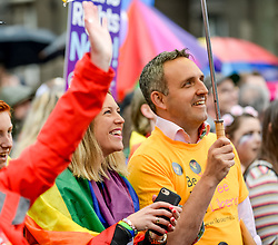 Pictured: MSP's Jenny Gilruth and Alex Cole-Hamilton listen to the speakers.<br /> <br /> Thousands of marchers rallied outside the Scottish Parliament to celebrate the annual Scotia Pride event in Edinburgh.<br /> <br /> © Dave Johnston / EEm
