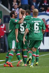 10.05.2014, SGL Arena, Augsburg, GER, 1. FBL, FC Augsburg vs Eintracht Frankfurt, 34. Runde, im Bild Torjubel bei Halil Altintop (# 7, FC Augsburg), Torschuetzen Ragnar Klavan (# 5, FC Augsburg), Sascha Moelders (# 33, FC Augsburg) und Kevin Vogt (# 6, FC Augsburg) v.l. // during the German Bundesliga 34th round match between FC Augsburg and Eintracht Frankfurt at the SGL Arena in Augsburg, Germany on 2014/05/10. EXPA Pictures © 2014, PhotoCredit: EXPA/ Eibner-Pressefoto/ Fastl<br /> <br /> *****ATTENTION - OUT of GER*****