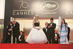 Barry Keoghan, Raffey Cassidy, director Yorgos Lanthimos, Sunny Suljic, Colin Farrell and Nicole Kidman and producers Ed Guiney and Andrew Lowe depart after the 'The Killing Of A Sacred Deer' screening during the 70th annual Cannes Film Festival at Palais des Festivals on May 22, 2017 in Cannes, France. Photo by Shootpix/ABACAPRESS.COM