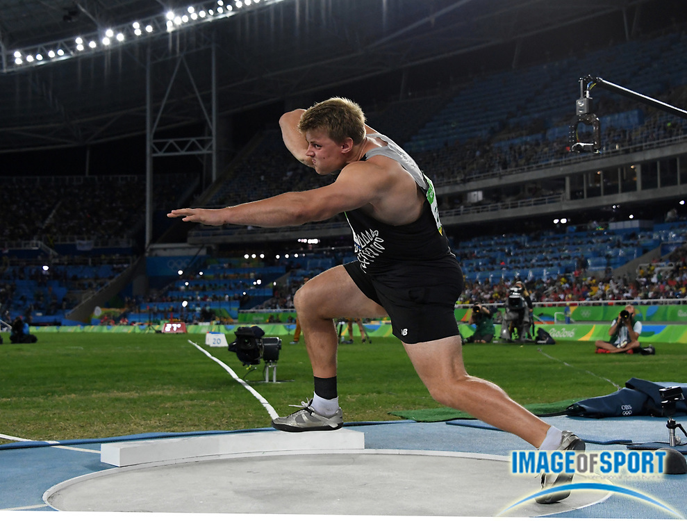 Aug 18, 2016; Rio de Janeiro, Brazil; Jacko Gill (NZL) places ninth in the shot put at 67-3¼ (20.50m) during the 2016 Rio Olympics at Estadio Olimpico Joao Havelange.
