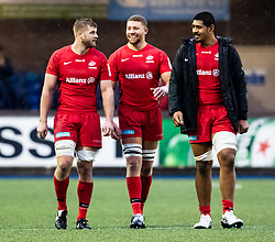 George Kruis of Saracens with team-mates George Kruis, Nick Isiekwe<br /> <br /> Photographer Simon King/Replay Images<br /> <br /> European Rugby Champions Cup Round 4 - Cardiff Blues v Saracens - Saturday 15th December 2018 - Cardiff Arms Park - Cardiff<br /> <br /> World Copyright © Replay Images . All rights reserved. info@replayimages.co.uk - http://replayimages.co.uk