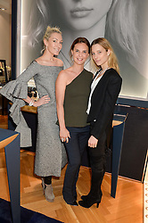 Left to right, OLIVIA BUCKINGHAM, KIKA PRETTE Creative Director of APM Monaco and IIONA SMET the face of APM Monaco at a party to celebrate the launch of the APM Monaco Flagship Store at 3 South Molton Street, London on 11th February 2016