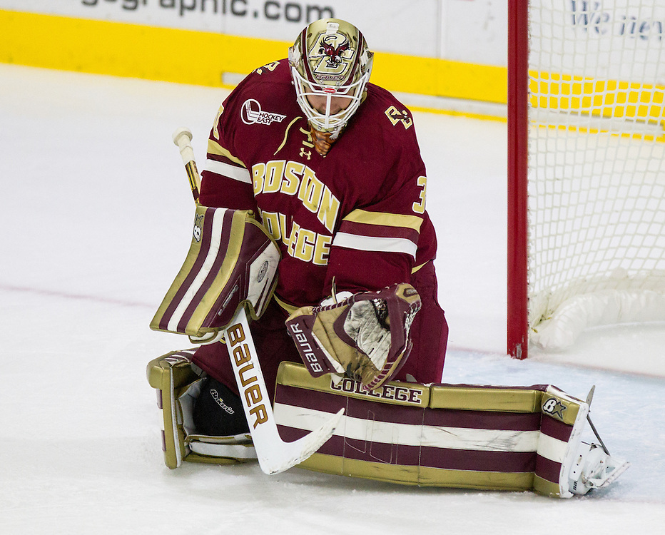 Boston College Goaltender Thatcher Demko (30) makes a glove save during the second period of a NCAA hockey game between Army and Boston College  at Tate Rink on October 9, 2015 in West Point, New York. (Dustin Satloff)