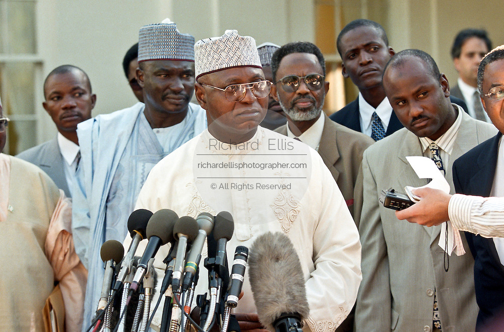 Nigerian leader General Abdulsalami Abubakar after meeting with President Bill Clinton at the White House September 23, 1998 in Washington, DC.