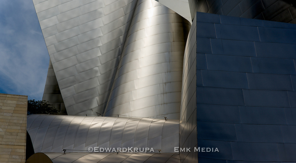 Detail of architect Frank Gehry's Walt Disney Concert Hall, Los Angeles.