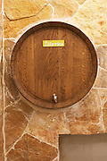 A decorative wine barrel in the winery restaurant and wine bar used to serve white wine Zilavka from tap. Podrum Vinoteka Sivric winery, Citluk, near Mostar. Federation Bosne i Hercegovine. Bosnia Herzegovina, Europe.