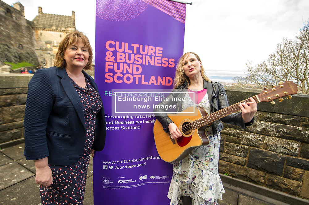 EMBARGOED UNTIL 00:01 3 APRIL 2017  FREE TO USE  FREE TO USE FREE TO USE<br /> Pictured: Fiona Hyslop and Louise Quinn Tromoloa Productions <br /> On Friday, Culture Secretary Fiona Hyslop visited Edinburgh Castle and launched the Culture & Business Fund Scotland. Funded by the Scottish Government via Creative Scotland and Historic Environment Scotland the fund will encourage the development of arts, heritage and business partnerships<br /> <br /> Ger Harley | EEm 31 March 2017