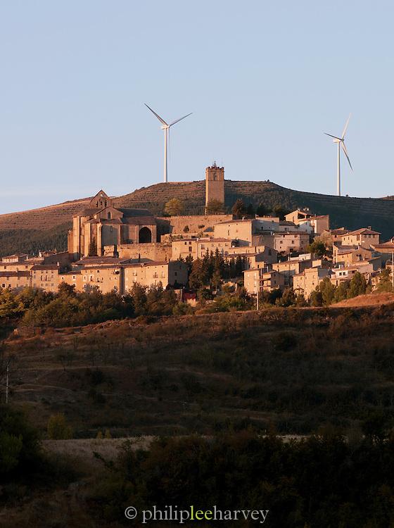 Windmills surround the hilltop town of Sos del Rey Catolico, near San Sebastian, Spain