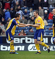 Fotball<br /> England<br /> Foto: Fotosports/Digitalsport<br /> NORWAY ONLY<br /> <br /> West Bromwich Abion v Leicester City 15/03/08<br /> Steve Howard (Leicester) celebrates his hat-trick  with  Lee Hendrie