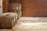Wine cellar with oak barrels against red brick wall. Matusko Winery. Potmje village, Dingac wine region, Peljesac peninsula. Matusko Winery. Dingac village and region. Peljesac peninsula. Dalmatian Coast, Croatia, Europe.