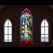 Window 1 on plan. Approx. 2'w x 6'h.<br /> <br /> Saint John the Divine Episcopal Church, Southwest Harbor, Maine.