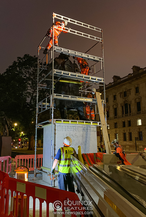 London, United Kingdom - 11 June 2020<br /> Winston Churchill statue being covered in protective scaffolding and sheet metal following Black Lives Matter protests, Parliament Square, London, England, UK.<br /> (photo by: EQUINOXFEATURES.COM)<br /> Picture Data:<br /> Photographer: Equinox Features<br /> Copyright: ©2020 Equinox Licensing Ltd. +443700 780000<br /> Contact: Equinox Features<br /> Date Taken: 20200611<br /> Time Taken: 221405<br /> www.newspics.com