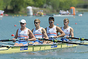 Brive, FRANCE,  GBR JM4-, bow Andrew HOLMES, Jason PHILLIPS, William PERHAM and Constantine LOULOUDIS. At the start,  2009 FISA Junior World Rowing Championships,  Brive La GAILLARDE. Wednesday 05/08/2009 [Mandatory Credit. Peter Spurrier/Intersport Images] Lac du Causse