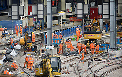 © Licensed to London News Pictures. 15/08/2017. London, UK. Waterloo Station's major development works continue despite a derailment of a passenger train earlier today.  Photo credit: Peter Macdiarmid/LNP