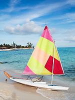 sailing boat on the beach of the maya rivera in yucatan mexico