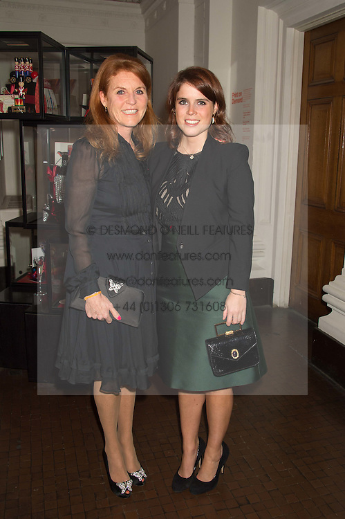 Left to right, SARAH, DUCHESS OF YORK and PRINCESS EUGENIE OF YORK at a dinner to celebrate Sir David Tang's 20 year patronage of the Royal Academy of Arts and the start of building work on the Burlington Gardens wing of the Royal Academy held at 6 Burlington Gardens, London on 26th October 2015.