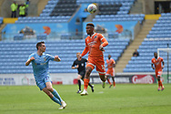 Shrewsbury Town striker (on loan from Stoke City) Tyrese Campbell (11) sprints forward with the ball  under pressure from Coventry City defender Dominic Hyam (15) during the EFL Sky Bet League 1 match between Coventry City and Shrewsbury Town at the Ricoh Arena, Coventry, England on 28 April 2019.