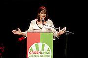 Jolande Sap spreekt tijdens het congres. In Utrecht vindt het 30e partijcongres plaats van GroenLinks. Een van de heikele punten is de missie naar Kunduz. Ook wordt een nieuwe partijvoorzitter gekozen.<br /> <br /> Political leader of GroenLinks, Jolande Sap, is speeching at the convention. The Dutch party GroenLinks (Green party) holds its 30th convention in Utrecht. One of the big issues is the mission to Kunduz. They will also elect the new chairman of the party.