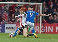 Football - 2016 / 2017 FA Cup - Third Round: Brentford vs. Eastleigh<br /> <br /> James Constable of Easleigh FC and Ryan Woods of Brentford  battle in the middle of the park for possession at Griffin Park.<br /> <br /> COLORSPORT/DANIEL BEARHAM