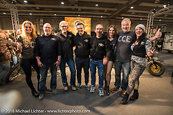 The crew from Custom Chrome Europe in their stand at  Motor Bike Expo. Verona, Italy. January 23, 2016.  Photography ©2016 Michael Lichter.
