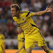 Tyson Wahl, Columbus Crew, in action during the New York Red Bulls Vs Columbus Crew, Major League Soccer regular season match at Red Bull Arena, Harrison, New Jersey. USA. 12th July 2014. Photo Tim Clayton